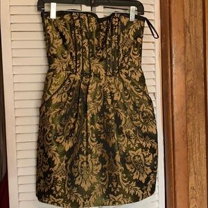 Size 6 H&M black and gold floral design dress